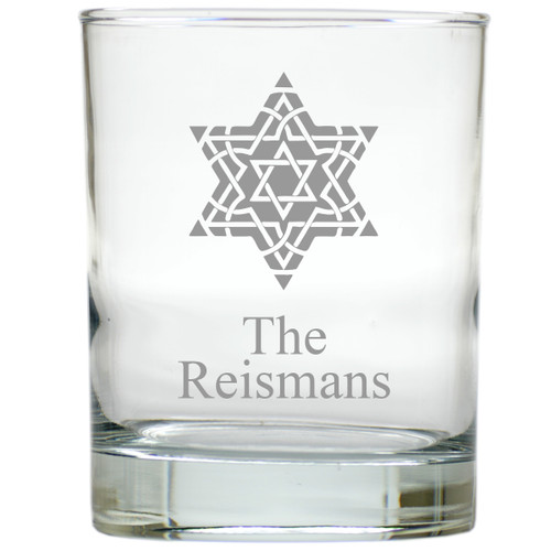 PERSONALIZED FANCY STAR OF DAVID OLD FASHIONED - SET OF 6 GLASS