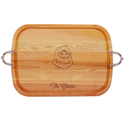 EVERYDAY COLLECTION: LARGE SERVING TRAY WITH NOUVEAU HANDLES PERSONALIZED SANTA