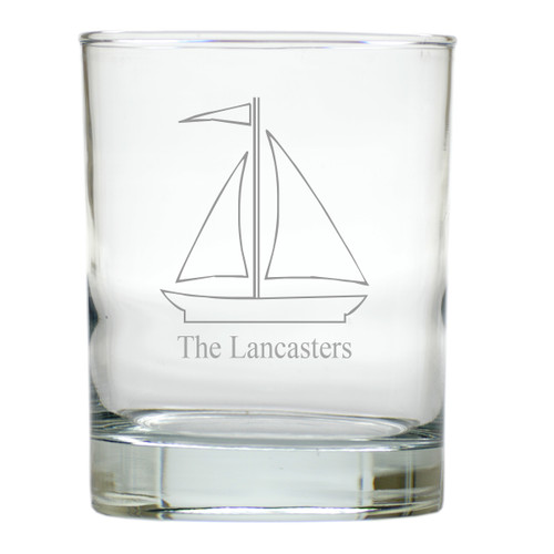 PERSONALIZED SAILBOAT OLD FASHIONED - SET OF 6 GLASS