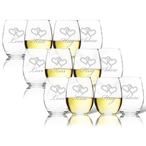 SET OF 3 - STEMLESS WINE TUMBLER - SET OF 4 (GLASS) : LOVE KISS HUG ADORE