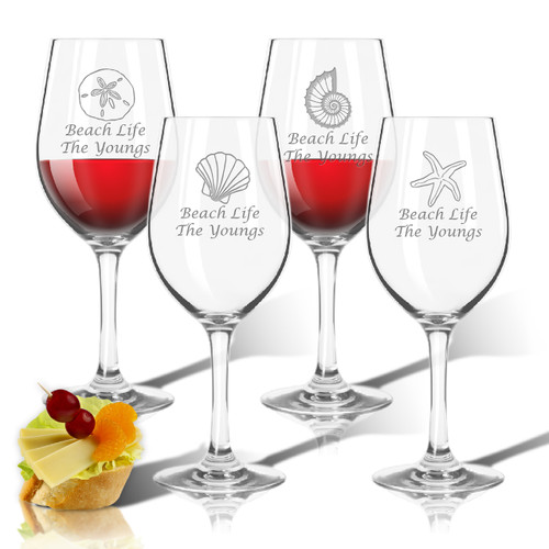 PERSONALIZED WINE STEMWARE - SET OF 4 (GLASS)(SHELL COLLECTION)