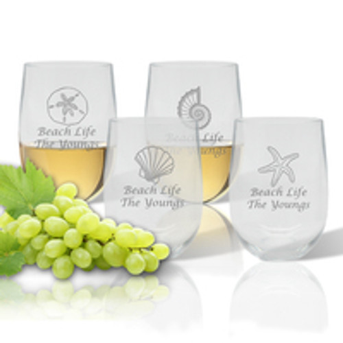 PERSONALIZED STEMLESS WINE TUMBLER SET OF 4 (Tritan)(Shell Collection)