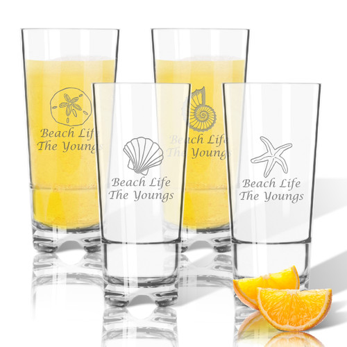 PERSONALIZED Tritan High Ball Glasses 16 oz (Set of 4) (SHELL COLLECTION)