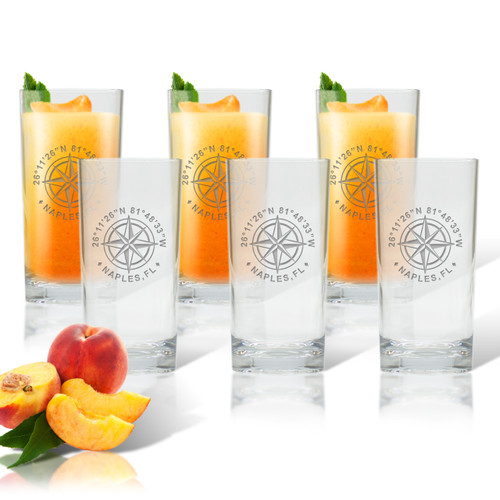 GPS COORDINATES, COOLER: SET OF 6 (Glass)