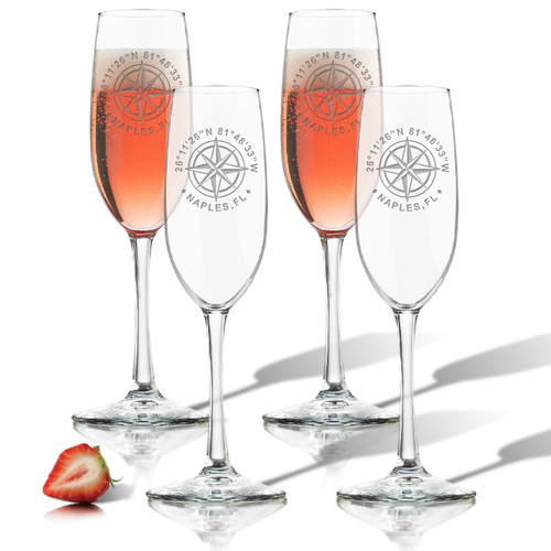 GPS COORDINATES, CHAMPAGNE FLUTE SET OF 4 (GLASS)