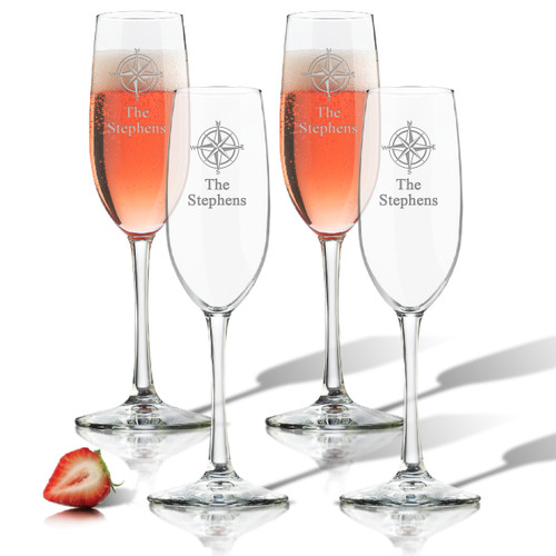 ICON PICKER PERSONALIZED CHAMPAGNE FLUTE SET OF 4 (GLASS)(Beach/Nautical)