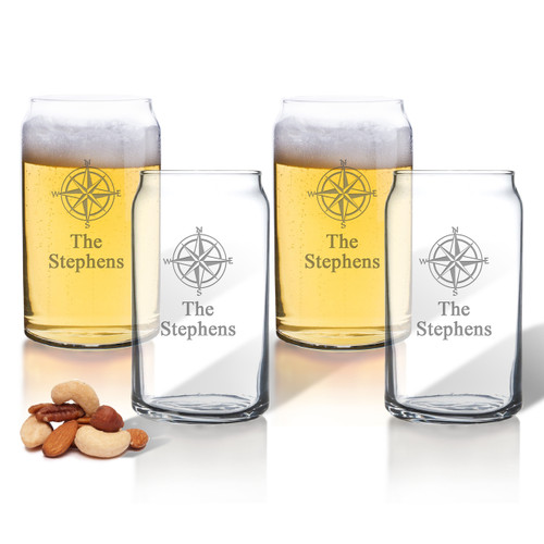 ICON PICKER PERSONALIZED BEER CAN GLASSES GIFT SET (Beach/Nautical)