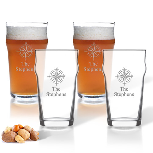 ICON PICKER NONIC PINT GLASS SET OF 4 GLASSES (Beach/Nautical)