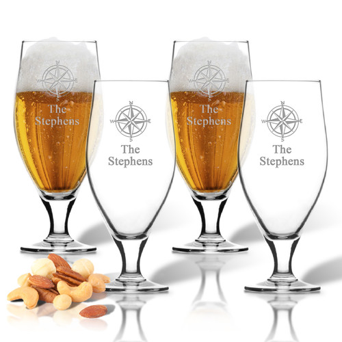 ICON PICKER SET of 4 16oz CERVOISE GLASSES (Beach/Nautical)