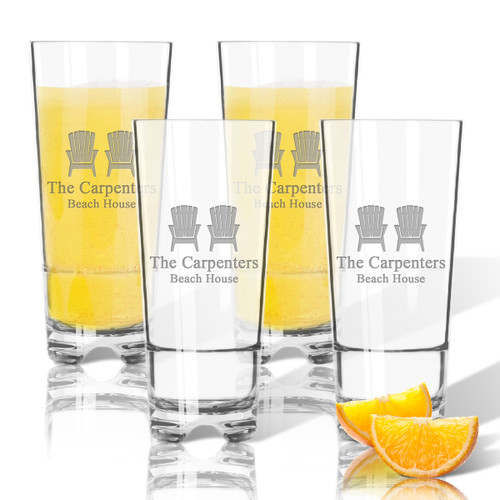 ICON PICKER Personalized Tritan Highball (Cooler) Glasses 16 oz (Set of 4) (Beach/Nautical)