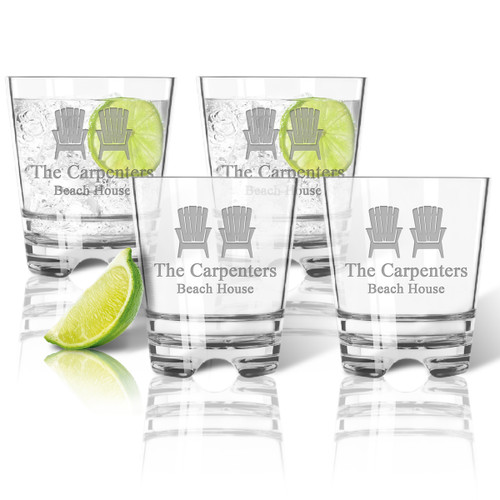 ICON PICKER Tritan Double Old Fashioned Glasses 12oz (Set of 4)(Beach/Nautical)