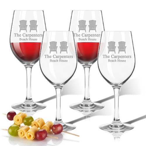 ICON PICKER Personalized Tritan Wine Stems 12 oz (Set of 4)(Beach/Nautical)