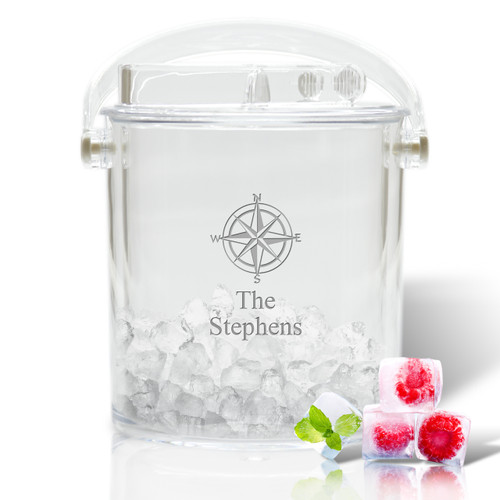 Personalized Insulated Ice Bucket with Tongs (Icon Picker)(Beach / Nautical)
