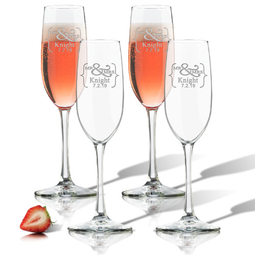ICON PICKER PERSONALIZED CHAMPAGNE FLUTE SET OF 4 (GLASS)(Prime Design)