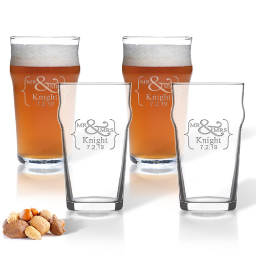 ICON PICKER NONIC PINT GLASS SET OF 4 GLASSES (Prime Design)