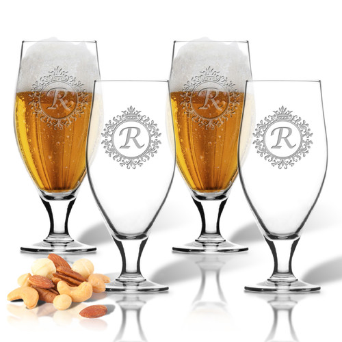 ICON PICKER SET of 4 16oz CERVOISE GLASSES (Initial/Monogram Prime Design)