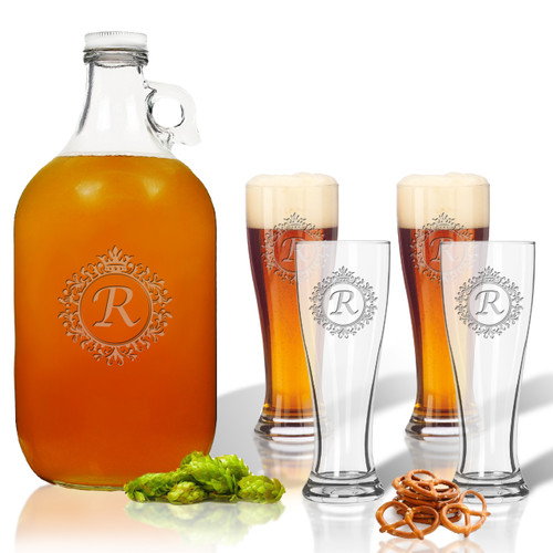 ICON PICKER 5 Piece Set: Growler  64 oz.  &  Pilsner Glass 16oz (Set of 4)(Initial/Monogram Prime Design)