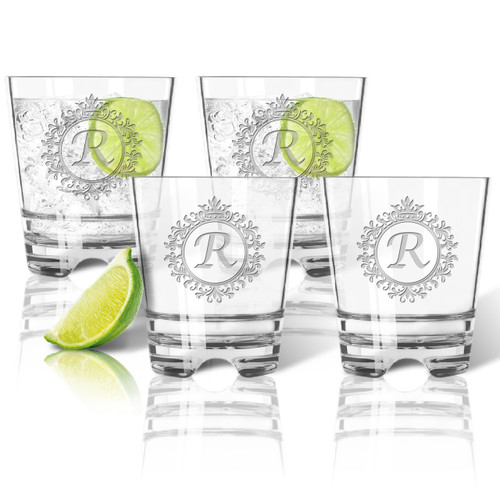 ICON PICKER Tritan Double Old Fashioned Glasses 12oz (Set of 4)(Initial/Monogram Prime Design)