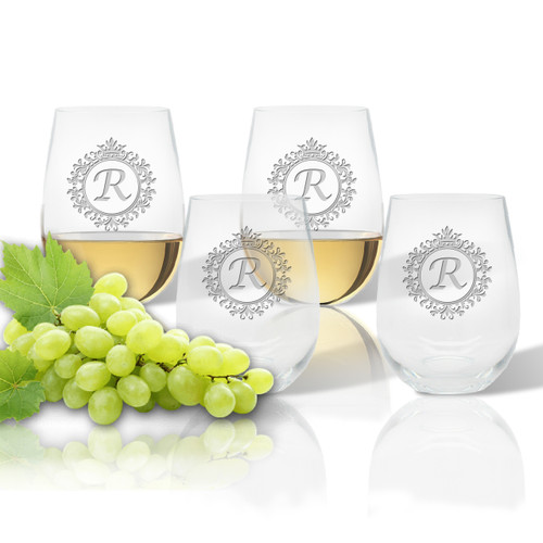 ICON PICKER Stemless Wine Tumbler (Set of 4)(Initial/Monogram Prime Design)