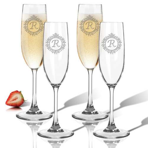 Tritan Champagne Flutes 6.5oz (Set of 4)(Initial/Monogram Prime Design)
