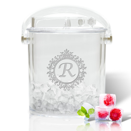 Personalized Insulated Ice Bucket with Tongs (Icon Picker)(Initial/Monogram Prime Design)