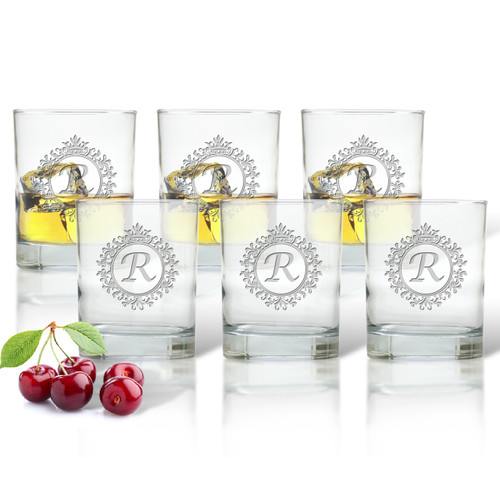 ICON PICKER DOUBLE OLD FASHIONED - SET OF 6 GLASS(Initial/Monogram Prime Design)