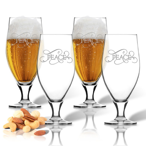 ICON PICKER SET of 4 16oz CERVOISE GLASSES(Common Sayings)