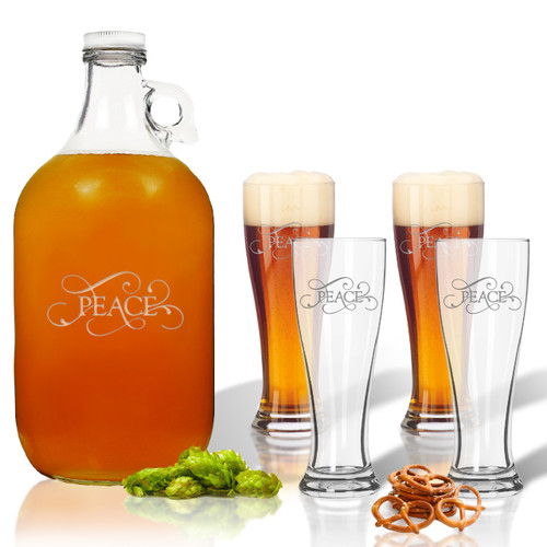 ICON PICKER 5 Piece Set: Growler  64 oz.  &  Pilsner Glass 16oz (Set of 4)(Common Sayings)