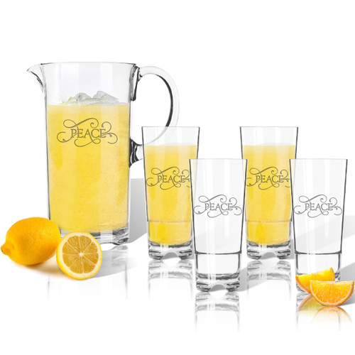 Entertaining Set: Tritan Pitcher and High Ball Glasses 16 oz (Set of 4)(Common Sayings)