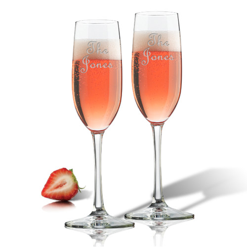 PERSONALIZED CHAMPAGNE FLUTE SET OF 2 (GLASS)-PERSONALIZED