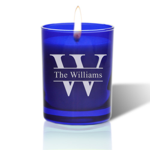 David Oreck Personalized Cobalt Candles (Split Letter)