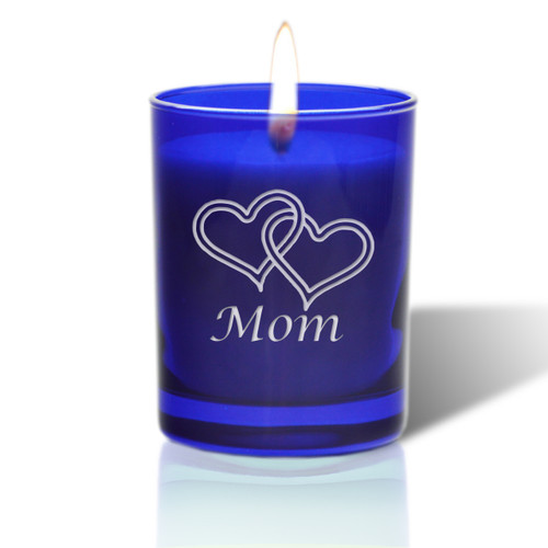 David Oreck Personalized Cobalt Candles ( I heart mom)