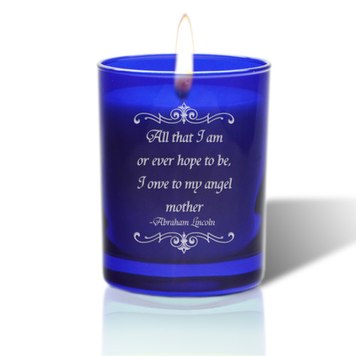 David Oreck Personalized Cobalt Candles ( angel mother )