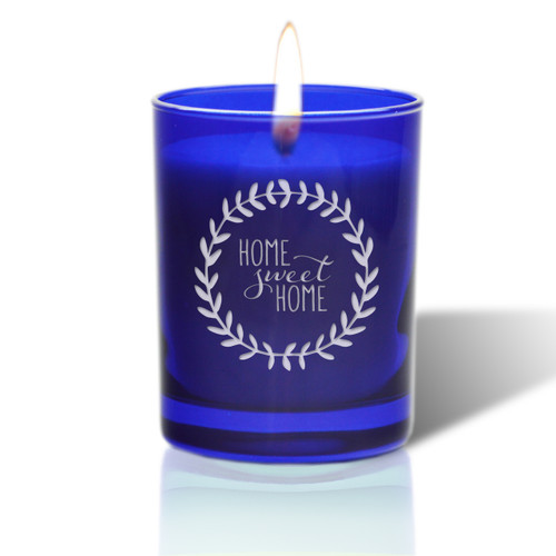 David Oreck Personalized Cobalt Candles ( home sweet home )