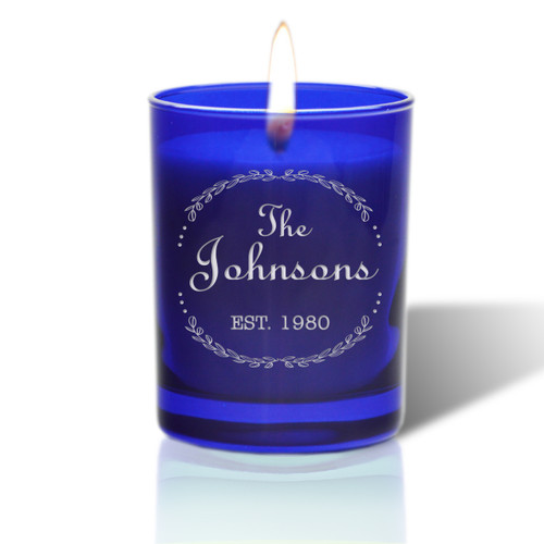 David Oreck Personalized Cobalt Candles ( Name )