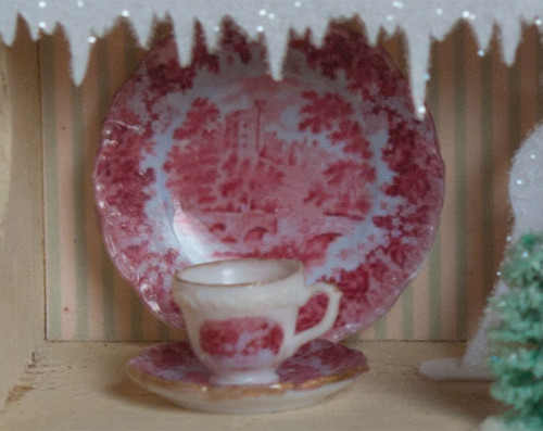 Miniature Decals – Red Toile Dishes