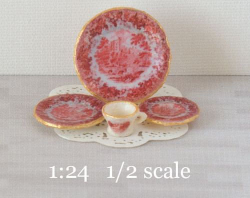 1:24 half scale red toile decals for miniature dishes