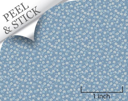 Daisy, deep blue. 1:48 quarter scale peel and stick wallpaper
