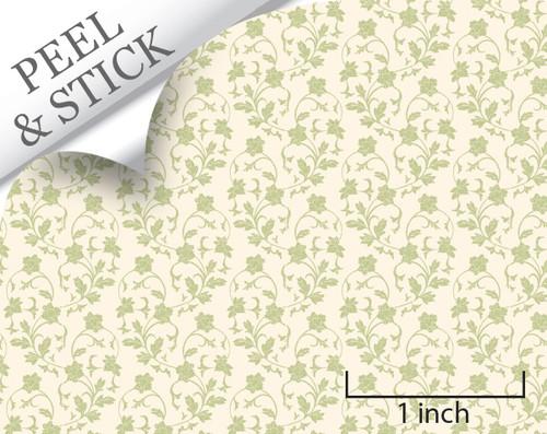 Climbing, Green. 1:48 quarter scale peel and stick wallpaper