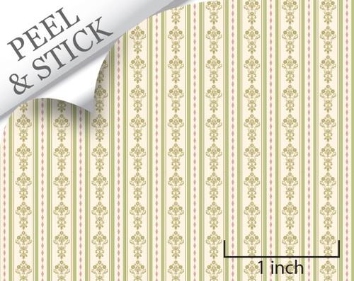Bouquet Stripe, Green. 1:48 quarter scale peel and stick wallpaper