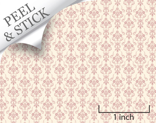 Bouquet, Pink. 1:48 quarter scale peel and stick wallpaper