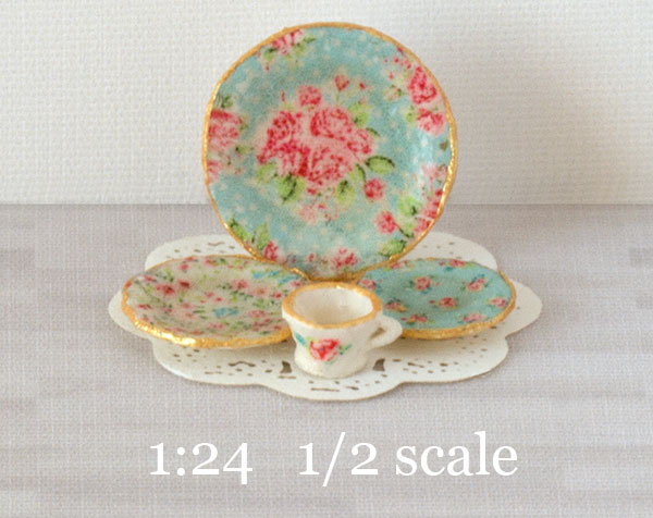 124 half scale Blue Chintz decals for miniature dishes & 1:24 Blue Chintz Decals for Miniature Dishes - True2Scale Dollhouse ...