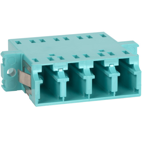 LC to LC Fiber Optic SC Mount with Quad Adapter in 10G Aqua Cable with Metal Sleeve