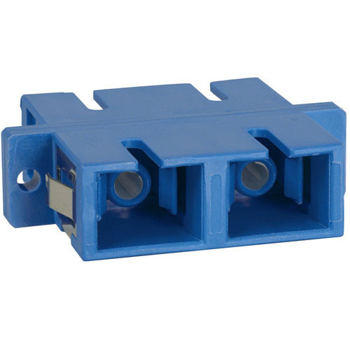 SC-SC Fiber Optic SC Mount Duplex Adapter in Blue with Ceramic Sleeve