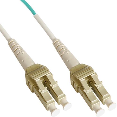 LC Uniboot Fiber Optic Patch Cord with Duplex 10 Gb Multimode OM3 Aqua Cable in 1 Meter
