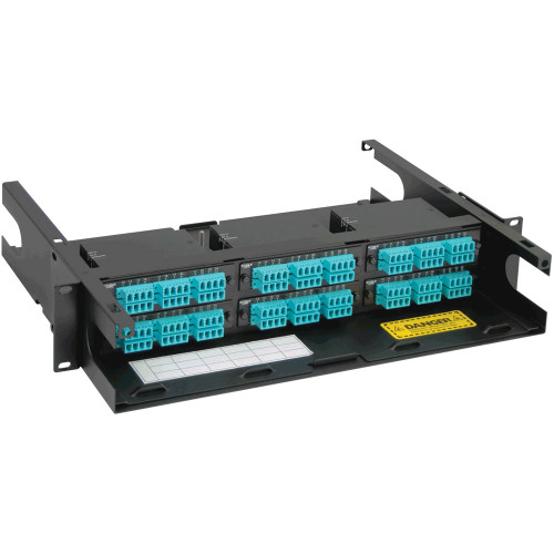 LC to MPO Fiber Optic Rack Mount Enclosure Preconfigured with 6 Cassettes with 144 10G Aqua Fibers