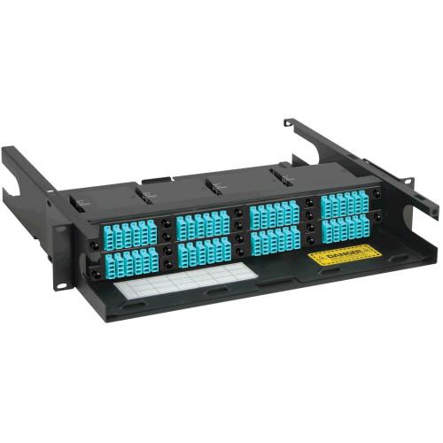 LC to MPO Fiber Optic Rack Mount Enclosure Pre-configured with 8 HD Cassettes with 192 10G Aqua Fibers