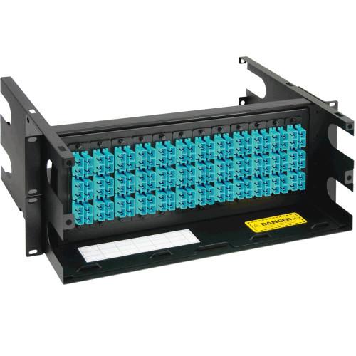 SC to SC Fiber Optic Rack Mount Enclosure Preconfigured with 12 Adapter Panels with 144 10G Aqua Fibers