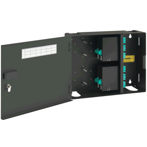 SC to MPO Fiber Optic Wall Mount Enclosure Preconfigured with 4 Cassettes with 48 10G Aqua Fibers