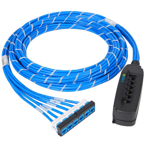 Pre-terminated UTP Cassette Patch Panel with CMR CAT6e Cable Assembly, 6 Ports, Bezel to Mobile Box